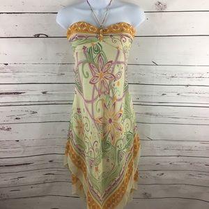 BCBG Chiffon Dress Strapless Handkerchief Hem
